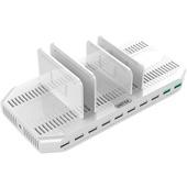 UNITEK 10-Port USB Smart Charging Station (White)