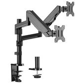 """Brateck 17-32"""" Dual Monitor Gas Spring Stand with Clamp/Grommet Base"""