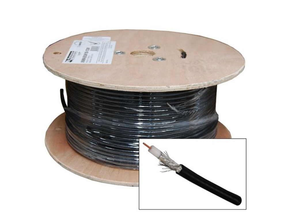DYNAMIX RG6 Shielded Cable Roll (Black, 152m)